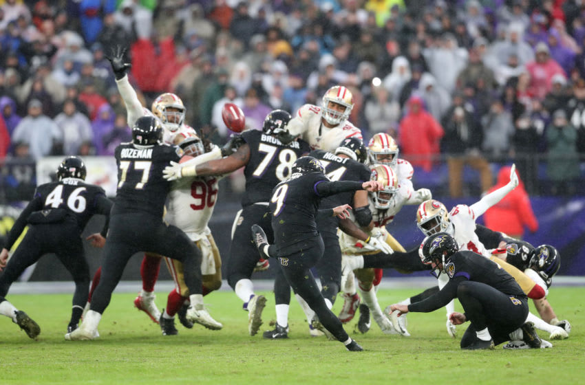 BALTIMORE, MARYLAND - DECEMBER 01: Kicker Justin Tucker #9 of the Baltimore Ravens kicks the game winning field goal against the San Francisco 49ers at M&T Bank Stadium on December 01, 2019 in Baltimore, Maryland. (Photo by Rob Carr/Getty Images)