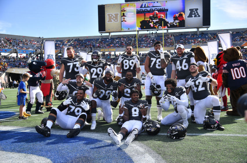 ORLANDO, FLORIDA - JANUARY 26: The Baltimore Ravens pose during introductions before the 2020 NFL Pro Bowl at Camping World Stadium on January 26, 2020 in Orlando, Florida. (Photo by Mark Brown/Getty Images)