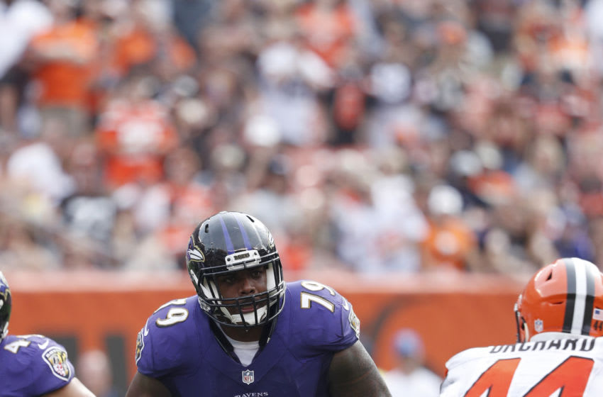 CLEVELAND, OH - SEPTEMBER 18: Ronnie Stanley #79 of the Baltimore Ravens in action against the Cleveland Browns during the game at FirstEnergy Stadium on September 18, 2016 in Cleveland, Ohio. The Ravens defeated the Browns 25-20. (Photo by Joe Robbins/Getty Images)