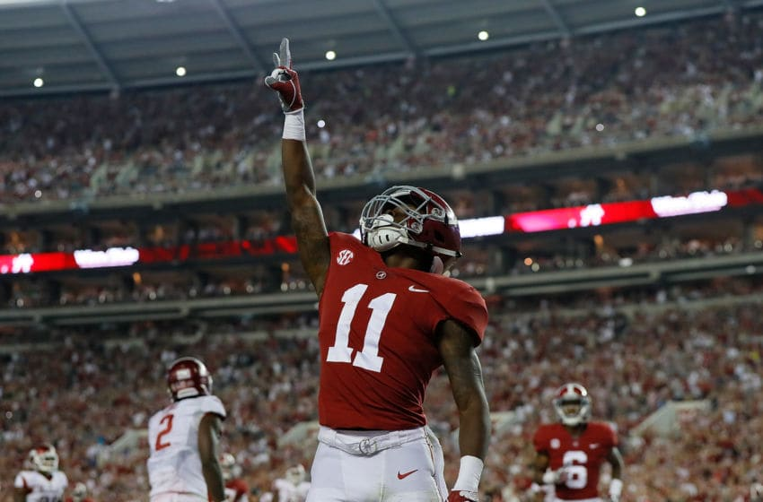 TUSCALOOSA, AL - OCTOBER 14: Henry Ruggs III #11 of the Alabama Crimson Tide reacts after pulling in a touchdown reception against the Arkansas Razorbacks at Bryant-Denny Stadium on October 14, 2017 in Tuscaloosa, Alabama. (Photo by Kevin C. Cox/Getty Images)