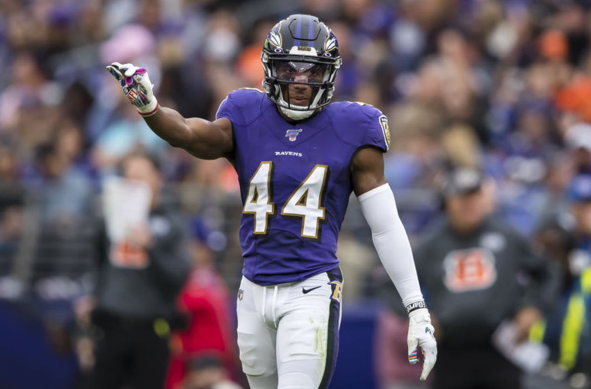 BALTIMORE, MD - OCTOBER 13: Marlon Humphrey #44 of the Baltimore Ravens in action against the Cincinnati Bengals during the second half at M&T Bank Stadium on October 13, 2019 in Baltimore, Maryland. (Photo by Scott Taetsch/Getty Images)