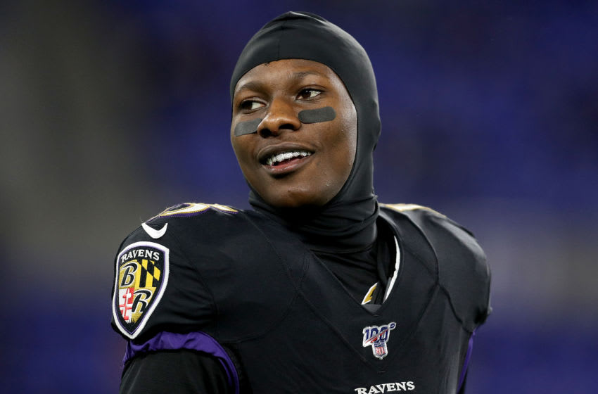 Wide receiver Marquise Brown #15 of the Baltimore Ravens (Photo by Patrick Smith/Getty Images)