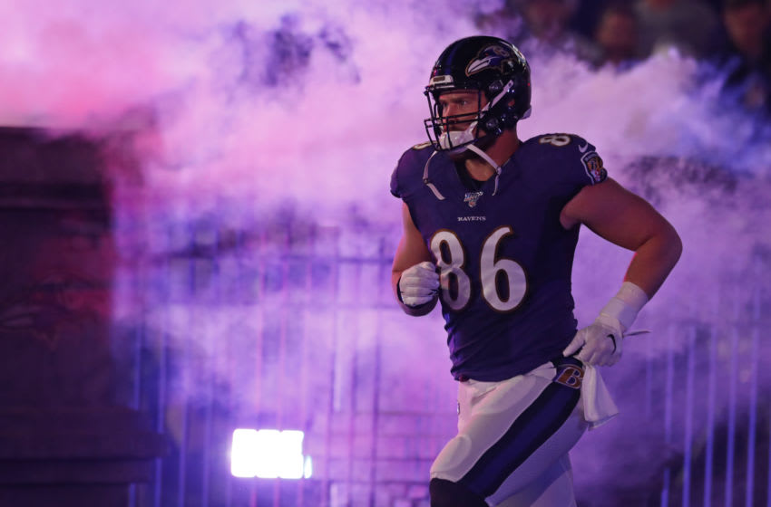 BALTIMORE, MD - JANUARY 11: Nick Boyle #86 of the Baltimore Ravens is introduced prior to the AFC Divisional Playoff game against the Tennessee Titans at M&T Bank Stadium on January 11, 2020 in Baltimore, Maryland. (Photo by Todd Olszewski/Getty Images)