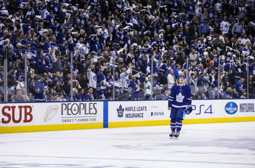 TORONTO, ON - APRIL 21: Mitch Marner #16 of the Toronto Maple Leafs skates during the third period against the Boston Bruins during Game Six of the Eastern Conference First Round during the 2019 NHL Stanley Cup Playoffs at the Scotiabank Arena on April 21, 2019 in Toronto, Ontario, Canada. (Photo by Kevin Sousa/NHLI via Getty Images)