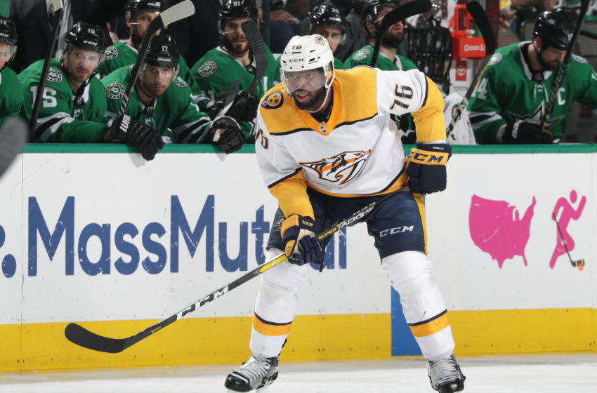 DALLAS, TX - APRIL 22: P.K. Subban #76 of the Nashville Predators skates against the Dallas Stars in Game Six of the Western Conference First Round during the 2019 NHL Stanley Cup Playoffs at the American Airlines Center on April 22, 2019 in Dallas, Texas. (Photo by Glenn James/NHLI via Getty Images)