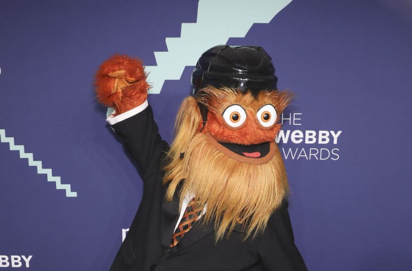 NEW YORK, NEW YORK - MAY 13: Philadelphia Flyers mascot Gritty attends the 2019 Webby Awards at Cipriani Wall Street on May 13, 2019 in New York City. (Photo by Bennett Raglin/Getty Images)