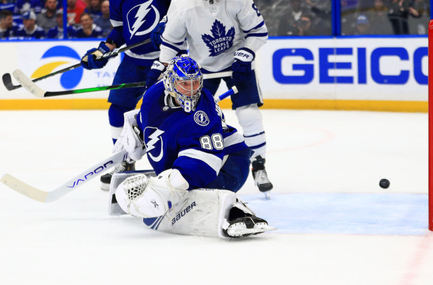 TAMPA, FLORIDA - FEBRUARY 25: Andrei Vasilevskiy #88 of the Tampa Bay Lightning gives up a goal during a game against the Toronto Maple Leafs at Amalie Arena on February 25, 2020 in Tampa, Florida. (Photo by Mike Ehrmann/Getty Images)