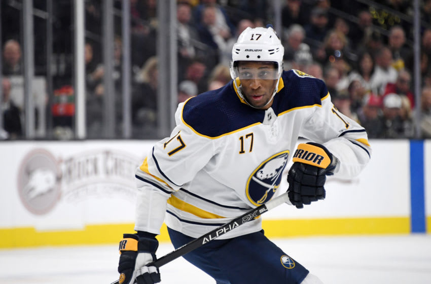 LAS VEGAS, NEVADA - FEBRUARY 28: Wayne Simmonds #17 of the Buffalo Sabres skates against the Vegas Golden Knights in the first period of their game at T-Mobile Arena on February 28, 2020 in Las Vegas, Nevada. The Golden Knights defeated the Sabres 4-2. (Photo by Ethan Miller/Getty Images)
