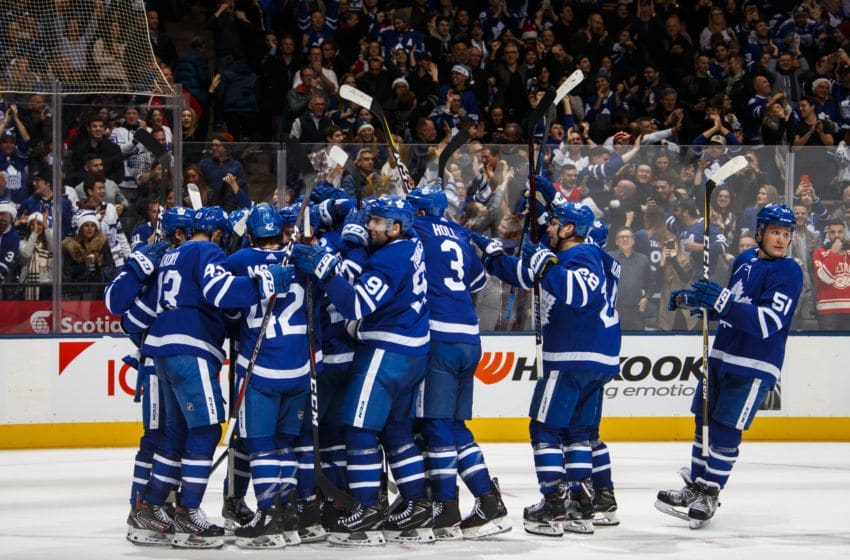 TORONTO, ON - DECEMBER 23: Toronto Maple Leafs celebrate their overtime win against the Detroit Red Wings at the Scotiabank Arena on December 23, 2018 in Toronto, Ontario, Canada. (Photo by Mark Blinch/NHLI via Getty Images)