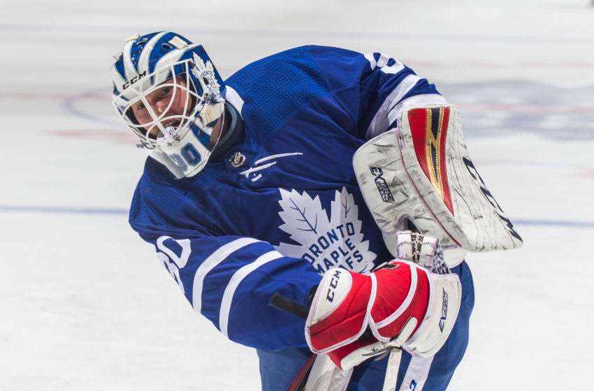TORONTO, ON - JANUARY 7: Michael Hutchinson #30 of the Toronto Maple Leafs during warm up before a game against the Nashville Predators at the Scotiabank Arena on January 7, 2019 in Toronto, Ontario, Canada. (Photo by Kevin Sousa/NHLI via Getty Images)