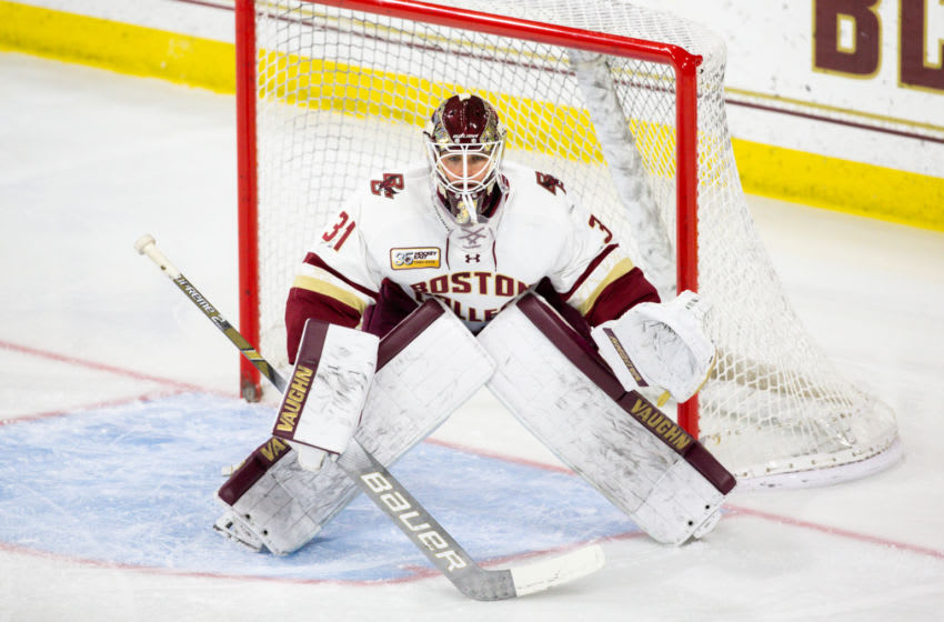 CHESTNUT HILL, MA - JANUARY 11: Joseph Woll #31 of the Boston College Eagles tends goal against the Providence College Friars during NCAA hockey at Kelley Rink on January 11, 2019 in Chestnut Hill, Massachusetts. The Eagles won 4-2. (Photo by Richard T Gagnon/Getty Images)