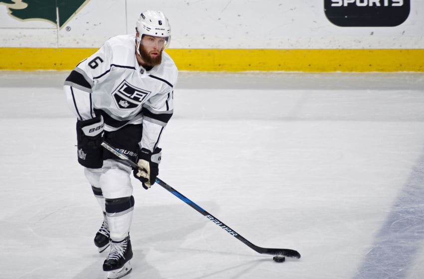 ST. PAUL, MN - JANUARY 15: Jake Muzzin #6 of the Los Angeles Kings makes a pass during a game with the Minnesota Wild at Xcel Energy Center on January 15, 2018 in St. Paul, Minnesota.(Photo by Bruce Kluckhohn/NHLI via Getty Images)