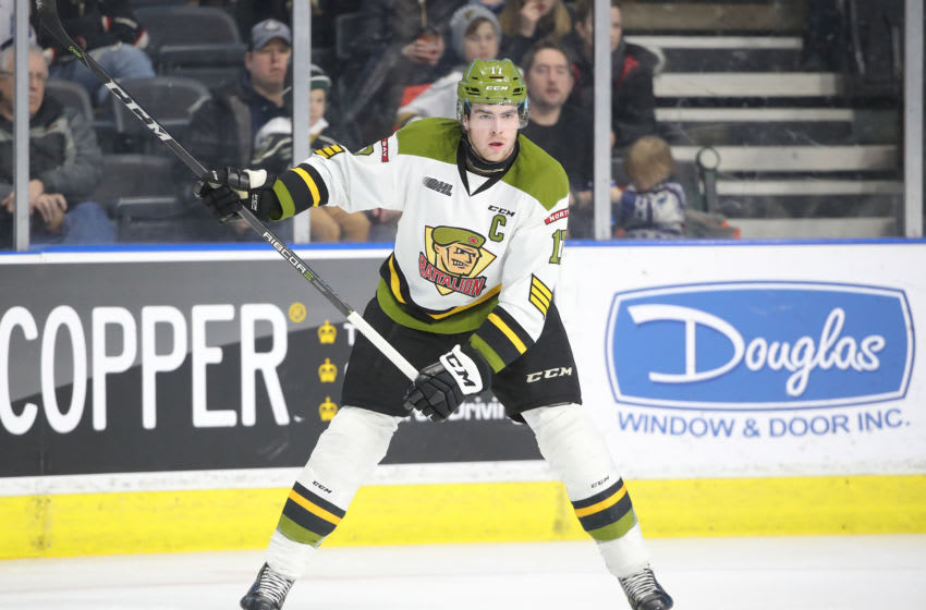 LONDON, ON - FEBRUARY 24: Justin Brazeau #17 of the North Bay Battalion prepares to shoot before scoring a power play goal in the first period during OHL game action against the London Knights at Budweiser Gardens on February 24, 2019 in London, Canada. (Photo by Tom Szczerbowski/Getty Images)
