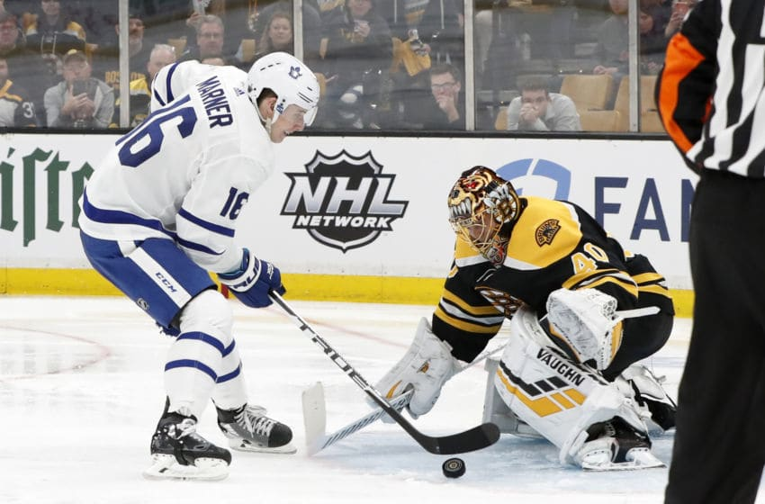 BOSTON, MA - APRIL 11: Toronto Maple Leafs right wing Mitchell Marner (16) makes his move on Boston Bruins goalie Tuukka Rask (40) during Game 1 of the First Round between the Boston Bruins and the Toronto Maple Leafs on April 11, 2019, at TD Garden in Boston, Massachusetts. (Photo by Fred Kfoury III/Icon Sportswire via Getty Images)