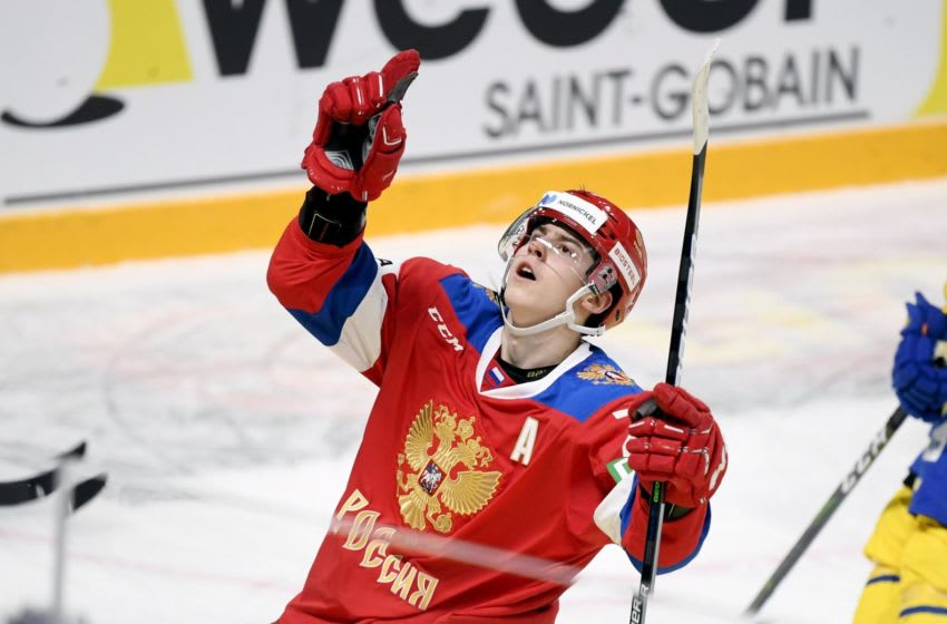 Russia's Rodion Amirov celebrates a goal during the Ice Hockey Karjala Tournament as part of the Euro Hockey Tour (EHT) season match between Sweden and Russia in Helsinki, Finland, on November 7, 2020. (Photo by Vesa Moilanen / Lehtikuva / AFP) / Finland OUT (Photo by VESA MOILANEN/Lehtikuva/AFP via Getty Images)