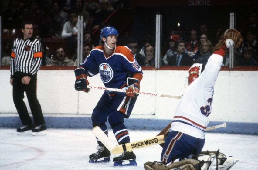 MONTREAL, QU - CIRCA 1984: Wayne Gretzky #99 of the Edmonton Oilers skates against the Montreal Canadiens during an NHL Hockey game circa 1984 at the Montreal Forum in Montreal, Quebec. Gretzky's playing career went from 1978-99. (Photo by Focus on Sport/Getty Images)