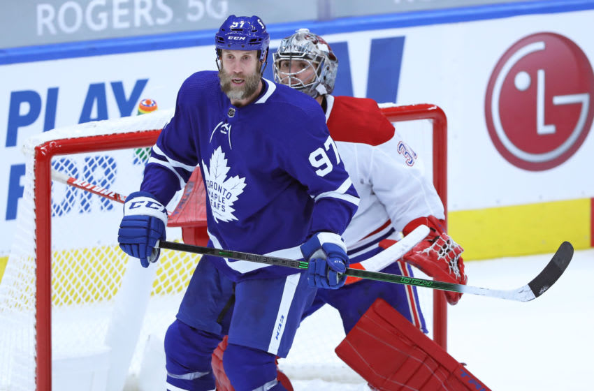 TORONTO, ON - JANUARY 13: Joe Thornton #97 of the Toronto Maple Leafs screens Carey Price #31 of the Montreal Canadiens during an NHL game at Scotiabank Arena on January 13, 2021 in Toronto, Ontario, Canada. The Maple Leafs defeated the Canadiens 5-4 in overtime. (Photo by Claus Andersen/Getty Images)