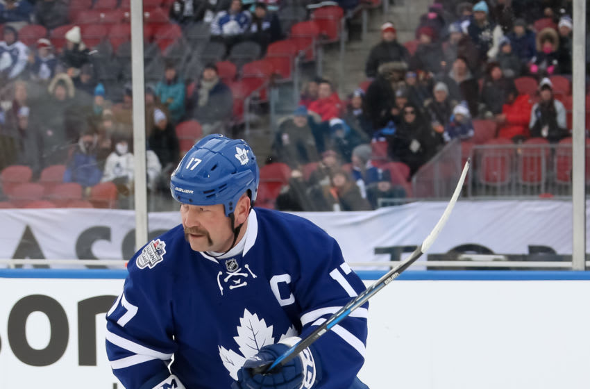 TORONTO, ON - DECEMBER 31: Toronto Maple Leafs alumni Wendel Clark #17 skates against Detroit Red Wings alumni during the 2017 Rogers NHL Centennial Classic Alumni Game at Exhibition Stadium on December 31, 2016 in Toronto, Canada. (Photo by Andre Ringuette/NHLI via Getty Images)