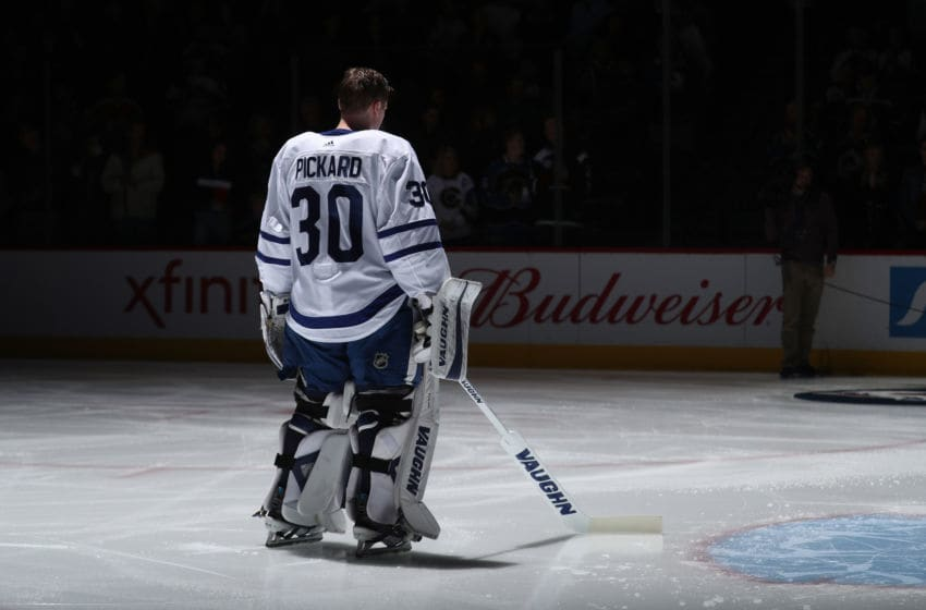 DENVER, CO - DECEMBER 29: Goaltender Calvin Pickard #30 of the Toronto Maple Leafs stands for the National Anthem prior to the game against the Colorado Avalanche at the Pepsi Center on December 29, 2017 in Denver, Colorado. The Avalanche defeated the Maple Leafs 4-3 in overtime. (Photo by Michael Martin/NHLI via Getty Images)