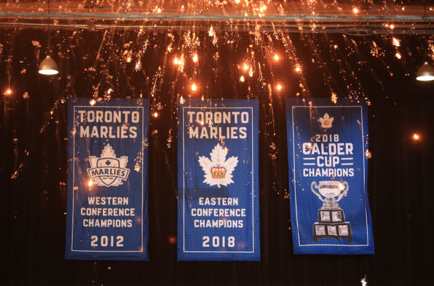 TORONTO, ON- Toronto Marlies won the Calder Cup last year the the banner was added to the collection during the ceremonial banner hanging at the Coca Cola Centre at the Home Opener against the Cleveland Monsters on Sunday,October 08, 2018. (Rene Johnston/Toronto Star via Getty Images)