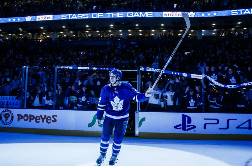 TORONTO, ON - NOVEMBER 6: Connor Brown #28 of the Toronto Maple Leafs salutes the crowd after being the named the game's third star after defeating the Vegas Golden Knights at the Scotiabank Arena on November 6, 2018 in Toronto, Ontario, Canada. (Photo by Mark Blinch/NHLI via Getty Images)