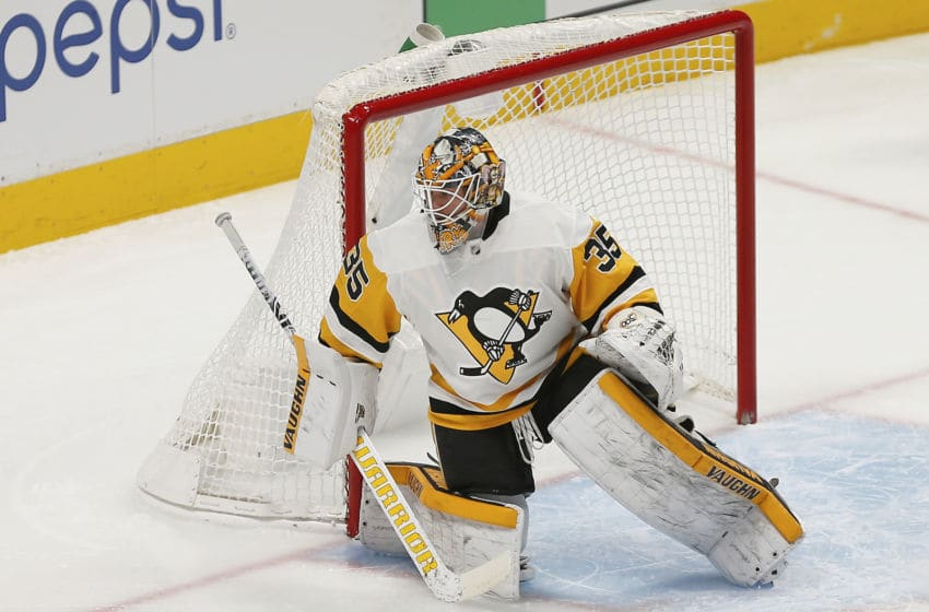 DENVER, CO - NOVEMBER 28: Pittsburgh Penguins goalie Tristan Jarry (35) watches the play during a regular season game between the Colorado Avalanche and the visiting Pittsburgh Penguins on November 28, 2018 at the Pepsi Center in Denver, CO. (Photo by Russell Lansford/Icon Sportswire via Getty Images)