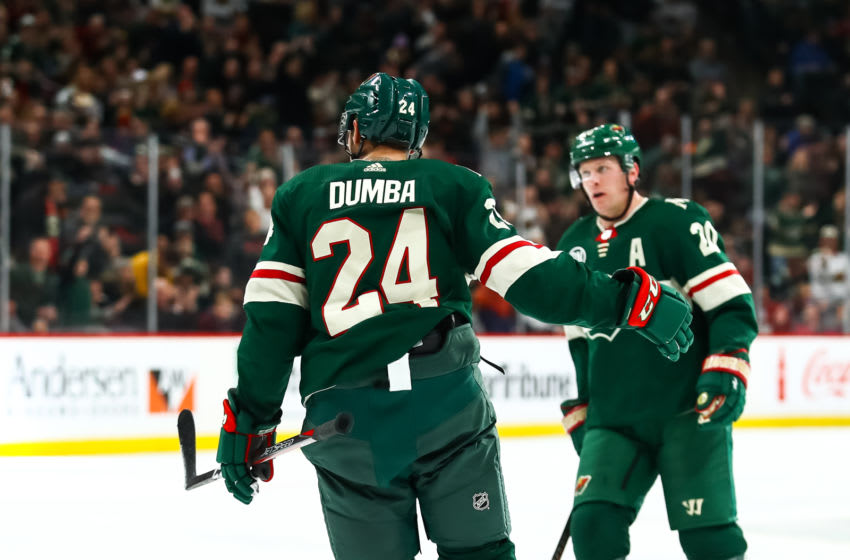 ST. PAUL, MN - DECEMBER 11: Minnesota Wild defenseman Matt Dumba (24) celebrates after scoring in the 2nd period during the game between the Montreal Canadiens and the Minnesota Wild on December 11, 2018 at Xcel Energy Center in St. Paul, Minnesota. (Photo by David Berding/Icon Sportswire via Getty Images)