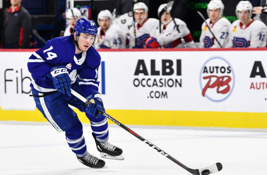 LAVAL, QC - DECEMBER 22: Adam Brooks #14 of the Toronto Marlies skates the puck against the Laval Rocket during the AHL game at Place Bell on December 22, 2018 in Laval, Quebec, Canada. The Toronto Marlies defeated the Laval Rocket 2-0. (Photo by Minas Panagiotakis/Getty Images)