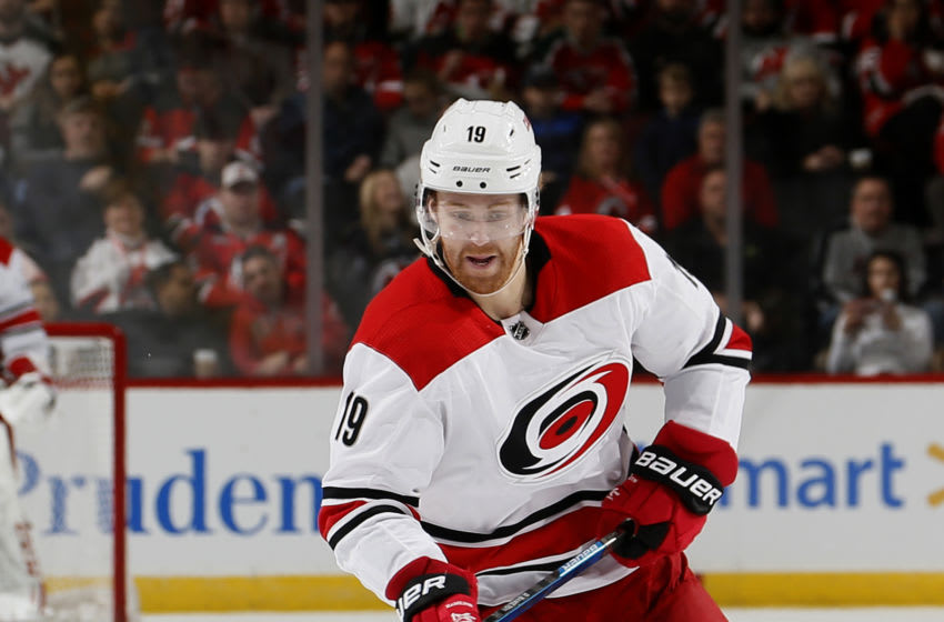 NEWARK, NJ - DECEMBER 29: Dougie Hamilton #19 of the Carolina Hurricanes skates during an NHL hockey game against the New Jersey Devils on December 29, 2018 at the Prudential Center in Newark, New Jersey. Devils won 2-0. (Photo by Paul Bereswill/Getty Images)