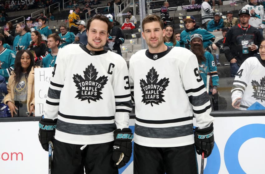 SAN JOSE, CA - JANUARY 26: Auston Matthews #34 and John Tavares #91 of the Toronto Maple Leafs pose prior to the 2019 Honda NHL All-Star Game at SAP Center on January 26, 2019 in San Jose, California. (Photo by Bruce Bennett/Getty Images)