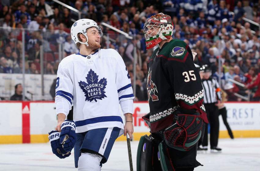 GLENDALE, ARIZONA - FEBRUARY 16: William Nylander #29 of the Toronto Maple Leafs and goaltender Darcy Kuemper #35 of the Arizona Coyotes during the second period of the NHL game at Gila River Arena on February 16, 2019 in Glendale, Arizona. (Photo by Christian Petersen/Getty Images)