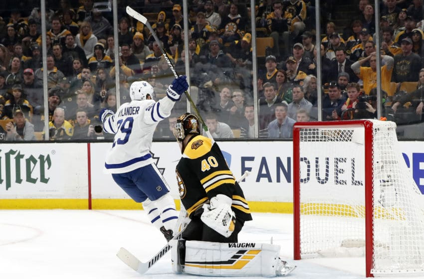 BOSTON, MA - APRIL 11: Toronto Maple Leafs right wing William Nylander (29) reacts to his goal during Game 1 of the First Round between the Boston Bruins and the Toronto Maple Leafs on April 11, 2019, at TD Garden in Boston, Massachusetts. (Photo by Fred Kfoury III/Icon Sportswire via Getty Images)