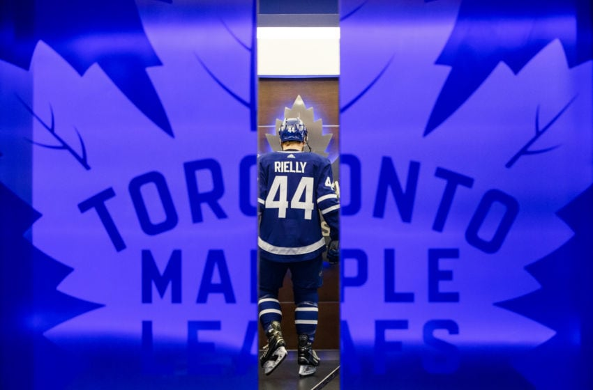 TORONTO, ON - APRIL 15: Morgan Rielly #44 of the Toronto Maple Leafs gets ready to face the Boston Bruins in Game Three of the Eastern Conference First Round during the 2019 NHL Stanley Cup Playoffs at the Scotiabank Arena on April 15, 2019 in Toronto, Ontario, Canada. (Photo by Mark Blinch/NHLI via Getty Images)