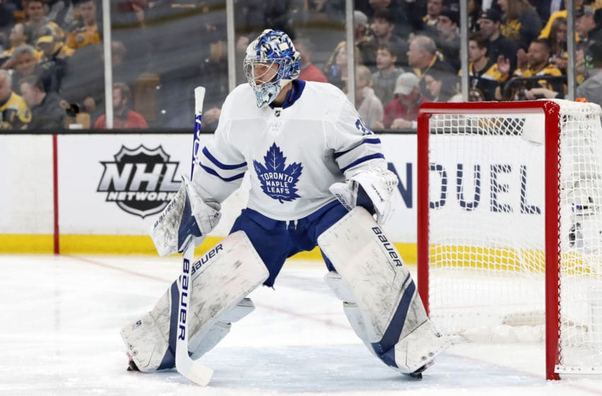 BOSTON, MA - APRIL 23: Toronto Maple Leafs goalie Frederik Andersen (31) gets ready for a shot during Game 7 of the 2019 First Round Stanley Cup Playoffs between the Boston Bruins and the Toronto Maple Leafs on April 23, 2019, at TD Garden in Boston, Massachusetts. (Photo by Fred Kfoury III/Icon Sportswire via Getty Images)