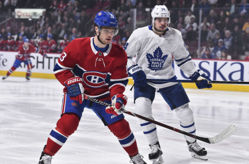 MONTREAL, QC - APRIL 06: Max Domi #13 of the Montreal Canadiens skates against Auston Matthews #34 of the Toronto Maple Leafs during the NHL game at the Bell Centre on April 6, 2019 in Montreal, Quebec, Canada. The Montreal Canadiens defeated the Toronto Maple Leafs 6-5 in a shootout. (Photo by Minas Panagiotakis/Getty Images)