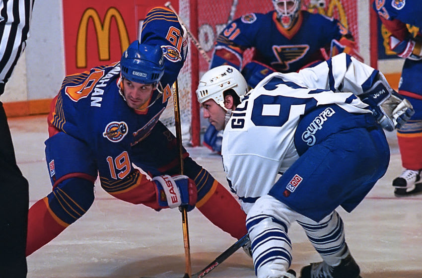 Brendan Shanahan #19 of the St. Louis Blues skates agains Doug Gilmour #93 of the Toronto Maple Leafs during NHL game action on February 18, 1995 at Maple Leaf Gardens (Photo by Graig Abel/Getty Images)