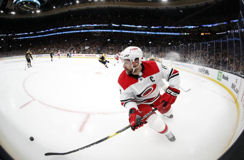 BOSTON, MA - MAY 12: Carolina Hurricanes right wing Justin Williams (14) looks bad to the point during Game 2 of the Stanley Cup Playoffs Eastern Conference Finals on May 12, 2019, at TD Garden in Boston, Massachusetts. (Photo by Fred Kfoury III/Icon Sportswire via Getty Images)
