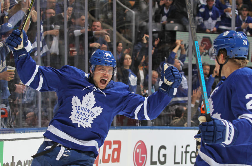 TORONTO, ON - APRIL 17: Auston Matthews #34 of the Toronto Maple Leafs celebrates his 1st of two goals against the Boston Bruins in Game Four of the Eastern Conference First Round during the 2019 NHL Stanley Cup Playoffs at Scotiabank Arena on April 17, 2019 in Toronto, Ontario, Canada. The Bruins defeated the Maple Leafs 6-4. (Photo by Claus Andersen/Getty Images)