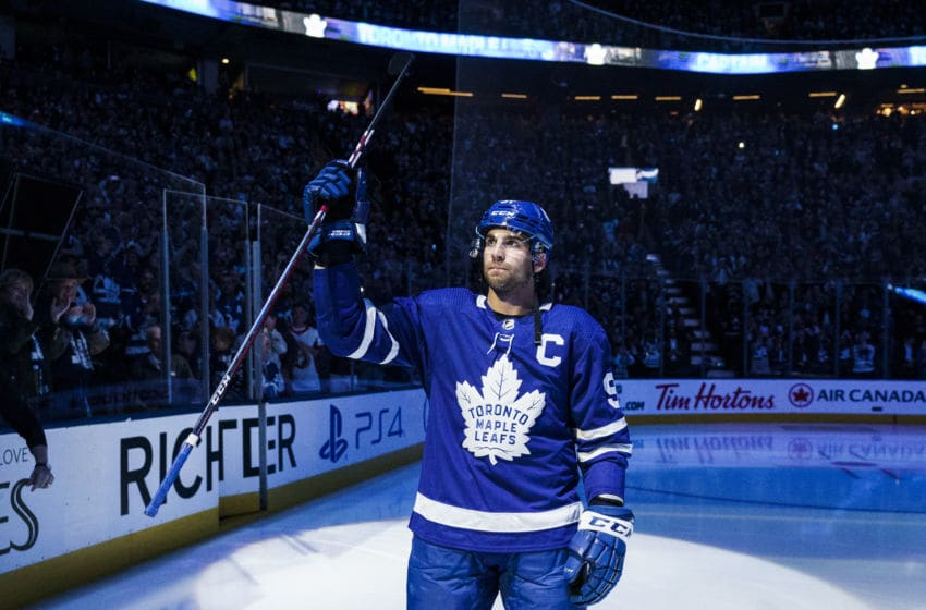 TORONTO, ON - OCTOBER 2: John Tavares #91 of the Toronto Maple Leafs is named the new captain ahead of the season opener against the Ottawa Senators at the Scotiabank Arena on October 2, 2019 in Toronto, Ontario, Canada. (Photo by Mark Blinch/NHLI via Getty Images)