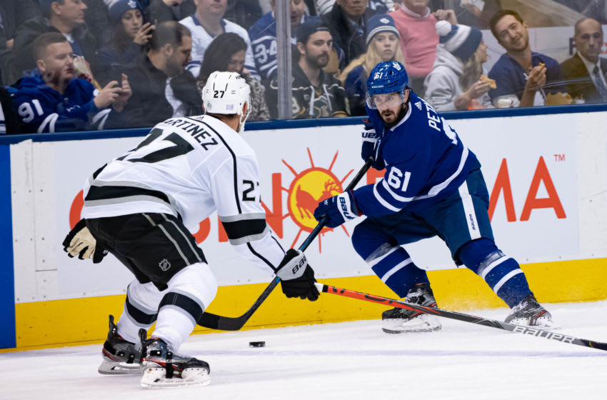 TORONTO, ON - NOVEMBER 05: Toronto Maple Leafs Winger Nic Petan (61) skates with the puck during the NHL regular season game between the Los Angeles Kings and the Toronto Maple Leafs on November 5, 2019, at Scotiabank Arena in Toronto, ON, Canada. (Photo by Julian Avram/Icon Sportswire via Getty Images)