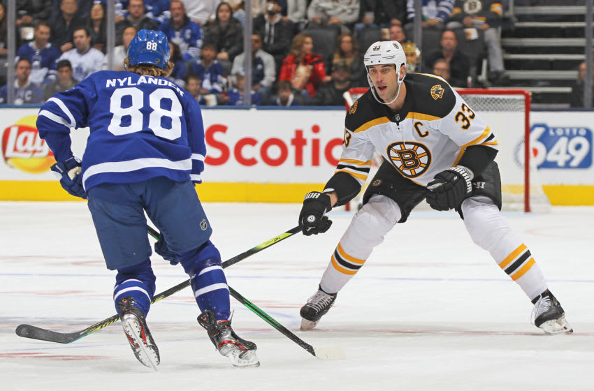 Zdeno Chara of the Boston Bruins vs William Nylander of the Toronto Maple Leafs (Photo by Claus Andersen/Getty Images)