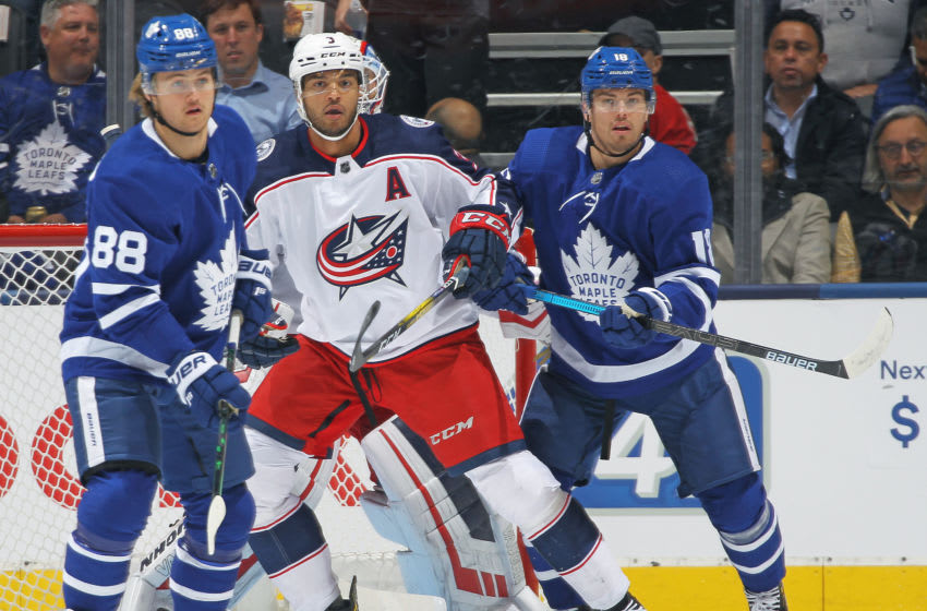 TORONTO, ON - OCTOBER 21: Seth Jones #3 of the Columbus Blue Jackets defends against the Toronto Maple Leafs during an NHL game at Scotiabank Arena on October 21, 2019 in Toronto, Ontario, Canada. The Blue Jackets defeated the Maple Leafs 4-3 in overtime. (Photo by Claus Andersen/Getty Images)