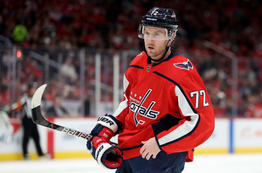 WASHINGTON, DC - NOVEMBER 09: Travis Boyd #72 of the Washington Capitals looks on against the Vegas Golden Knights at Capital One Arena on November 09, 2019 in Washington, DC. (Photo by Rob Carr/Getty Images)
