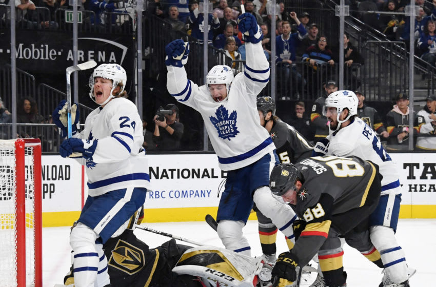 LAS VEGAS, NEVADA - NOVEMBER 19: Kasperi Kapanen #24 and Zach Hyman #11 of the Toronto Maple Leafs celebrate after Hyman scored a third-period goal against the Vegas Golden Knights during their game at T-Mobile Arena on November 19, 2019 in Las Vegas, Nevada. The Golden Knights defeated the Leafs 4-2. (Photo by Ethan Miller/Getty Images)