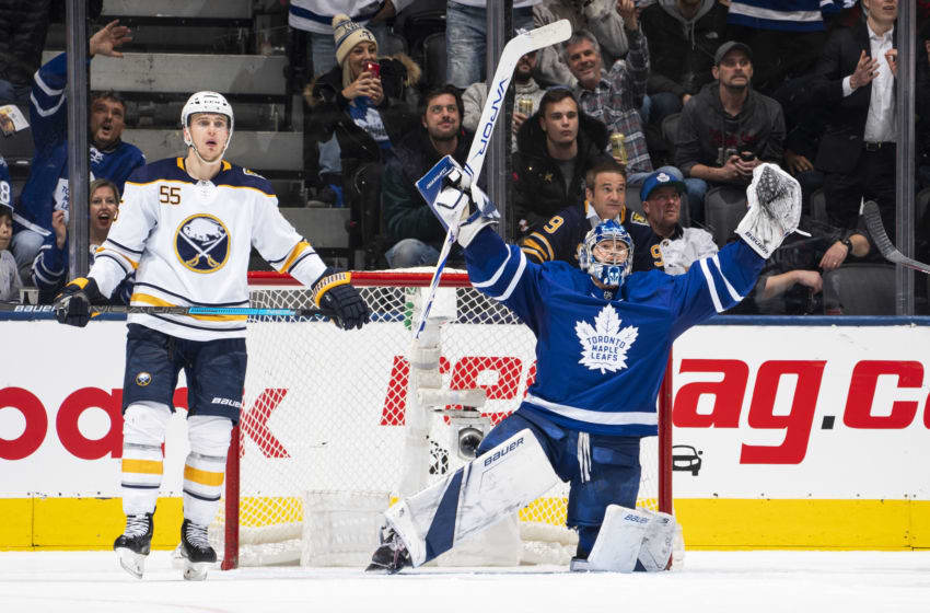 TORONTO, ON - DECEMBER 17: Frederik Andersen #31 of the Toronto Maple Leafs celebrates at the end of the third period against the Buffalo Sabres at the Scotiabank Arena on December 17, 2019 in Toronto, Ontario, Canada. (Photo by Mark Blinch/NHLI via Getty Images)