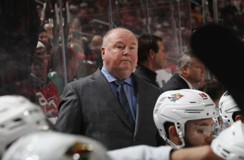 NEWARK, NEW JERSEY - NOVEMBER 26: Head coach Bruce Boudreau of the Minnesota Wild handles bench duties against the New Jersey Devils at the Prudential Center on November 26, 2019 in Newark, New Jersey. (Photo by Bruce Bennett/Getty Images)