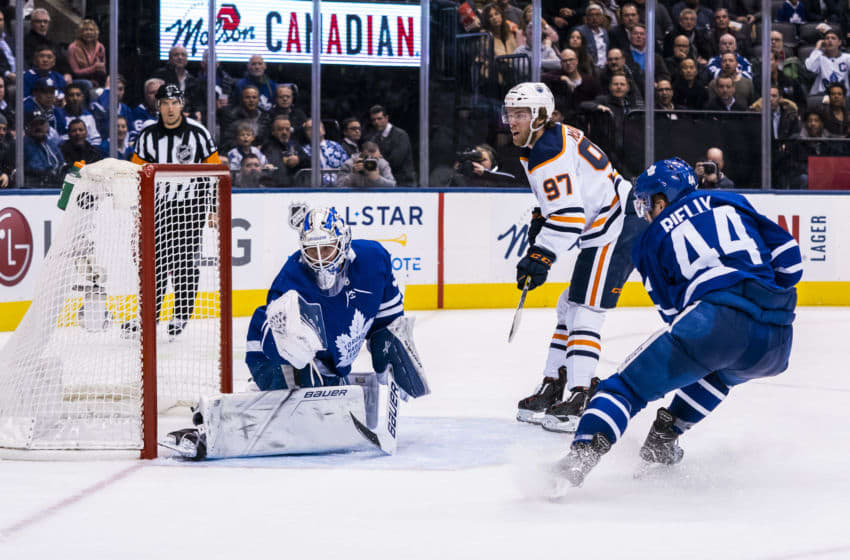 Connor McDavid beats the Toronto Maple Leafs (Photo by Kevin Sousa/NHLI via Getty Images)