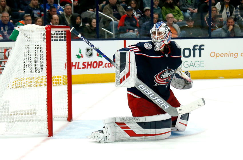 COLUMBUS, OH - DECEMBER 5: Joonas Korpisalo #70 of the Columbus Blue Jackets makes a save during the game against the New York Rangers on December 5, 2019 at Nationwide Arena in Columbus, Ohio. New York defeated Columbus 3-2. (Photo by Kirk Irwin/Getty Images)