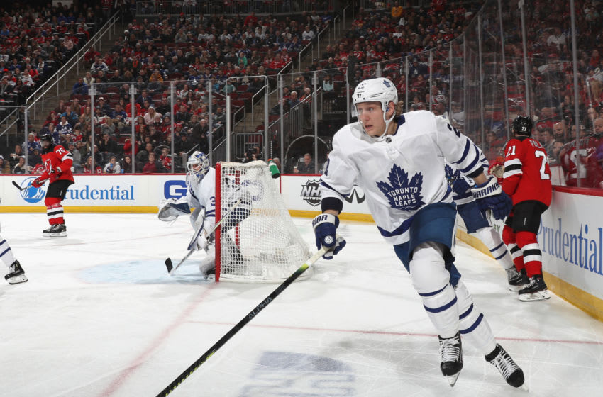 NEWARK, NEW JERSEY - DECEMBER 27: Travis Dermott #23 of the Toronto Maple Leafs skates against the New Jersey Devils at the Prudential Center on December 27, 2019 in Newark, New Jersey. (Photo by Bruce Bennett/Getty Images)