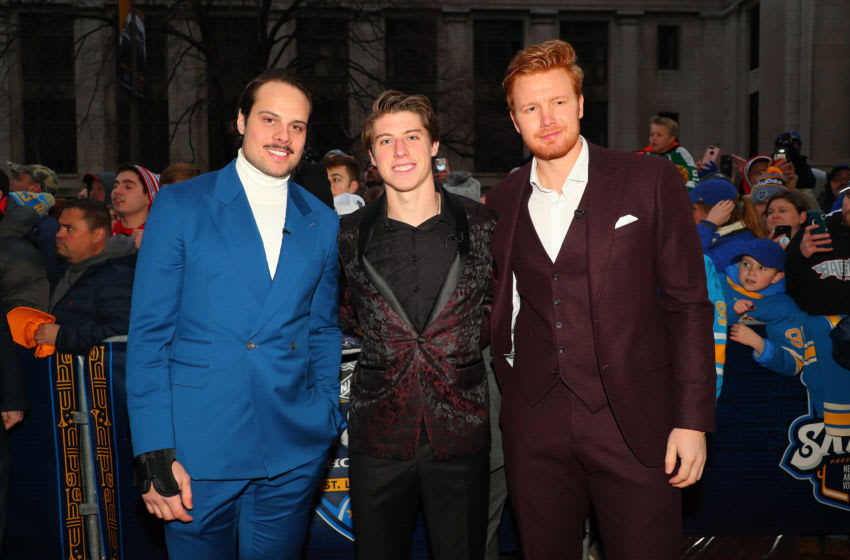 Toronto Maple Leafs - (L-R) Auston Matthews, Mitch Marner and Frederik Andersen at red carpet for the 2020 NHL All-Star Game (Photo by Dilip Vishwanat/Getty Images)